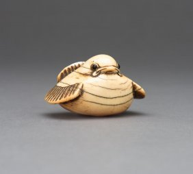 An Ivory Netsuke Of A Sparrow With Inlaid Eyes, Signed,