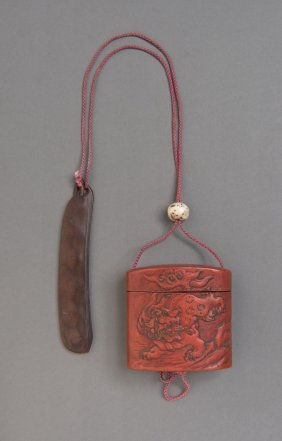 A Japanese Cinnabar Lacquer Inro Decorated With Kirin