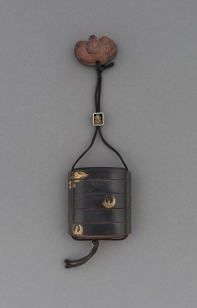 A Japanese Lacquer Five Case Inro And A Wooden Netsuke