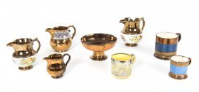 A Collection Of Antique Lustre Ware Comprising 4 Jugs,