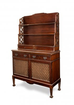 A Victorian Mahogany Credenza With Two Shelves Above