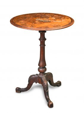 A Victorian Marquetry Inlaid Burr Walnut Circular
