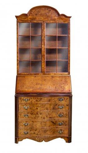A Walnut Secretaire Bureau Bookcase, 20th Century