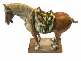 A Chinese Tang Style Glazed Terracotta Horse