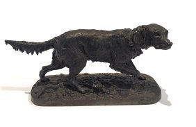 A Victorian Cast Metal Figure Of A Setter