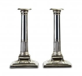 A Pair Of George Iii Sterling Silver Column