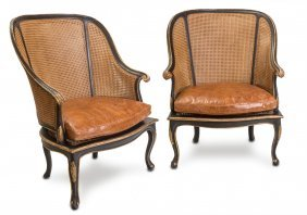 A Pair Of Key West Caned And Gilded Bergeres