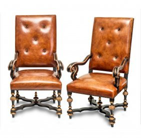A Pair Of Louis Xiv Style Carved And Gilded Leather