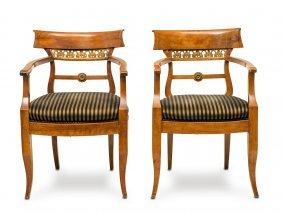 A Pair Of Biedermeier Fruitwood Elbow Chairs, 19th