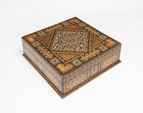 A Moroccan Marquetry Inlaid Sewing Box, 20th Century