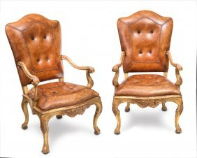 A Pair Of Louis Xv Style Carved Gilt Wood Fauteuils