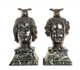 A Pair Of North Italian Bronze Head Oenochoe On Verde