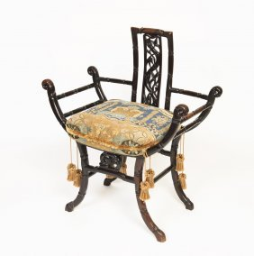 A Chinese Carved Faux Bamboo Throne Chair With Floral