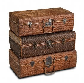 A Collection Of Three Cane Work Suitcase, Early 20th