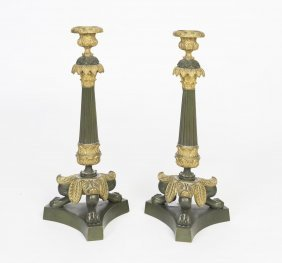 A Pair Of Neoclassical Bronze And Gilt Bronze