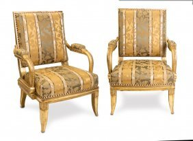 A Set Of Four Carved Wood Throne Chairs With Beaded