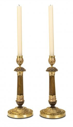 A Pair Of French Empire Bronze And Gilt Bronze Column