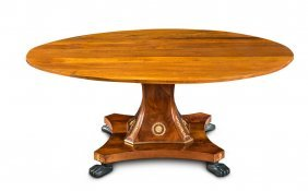 A Fine French Empire Mahogany Pedestal Extension Dining