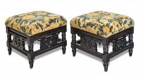 A Pair Of Anglo-indian Carved And Ebonised Tapestry