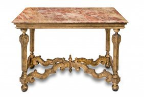 A Louis Xv Style Marble Top Carved Giltwood Side Table