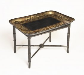 A Black Lacquer Tray On Stand Decorated With Shells And