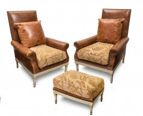 A Pair Of Leather Upholstered Directoire Style Arm