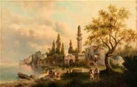 P. Molena working late 19th century Turkish Landscape