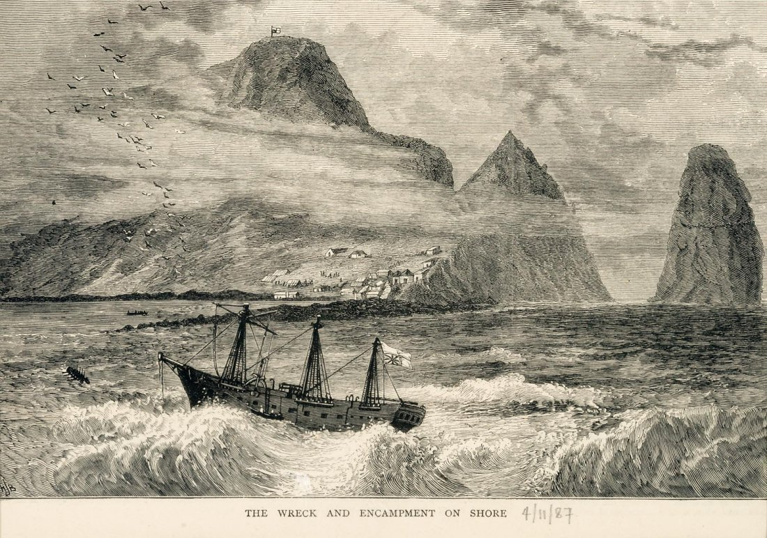 UNKNOWN  The Wreck and Encampment on Shore 1887