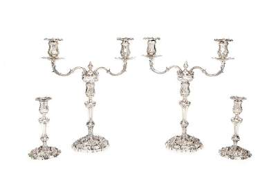 An pair of George III cast sterling silver two branch