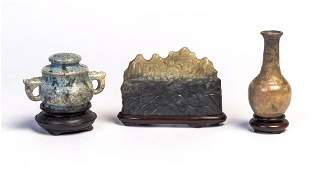A group of three Chinese jade scholar objects 20th