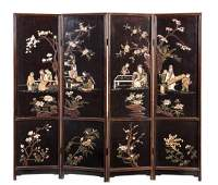 A Chinese carved hardstone and lacquer four-panel