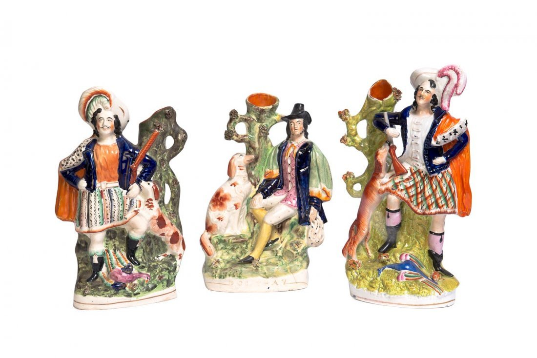 Three large Staffordshire portrait figure spill vases,