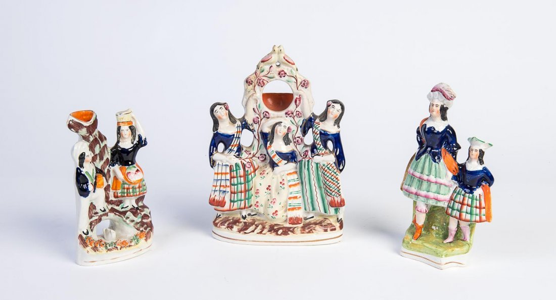 Three Staffordshire portrait figures of dancers, 19th