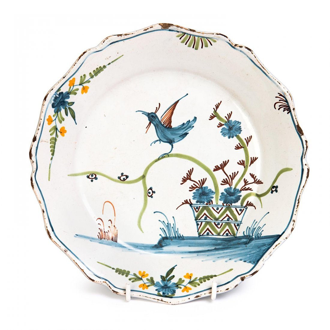 A French faience tin glazed earthenware plate, 18th
