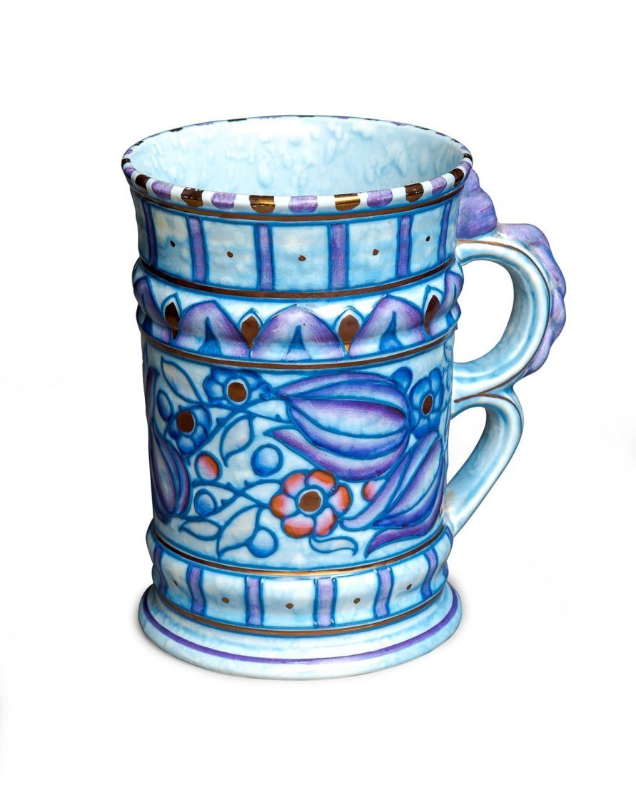 A Crown Ducal Charlotte Rhead blue tulips pattern