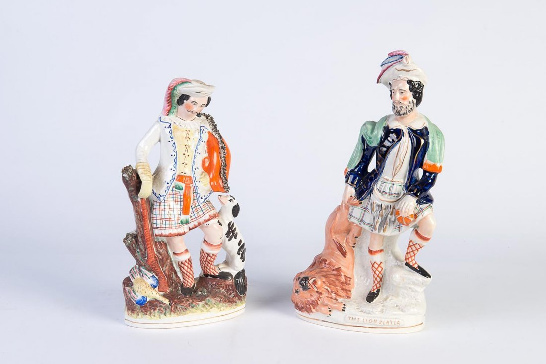 Two large Staffordshire portrait figures, 19th century