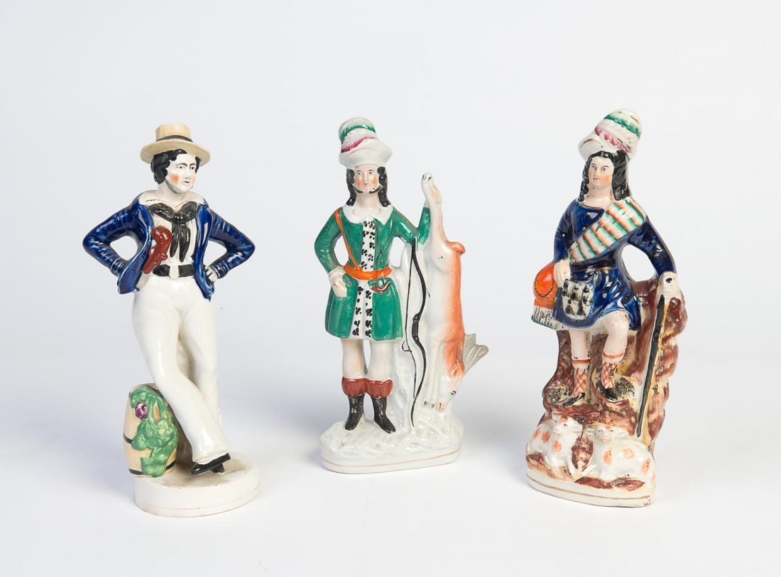 Three Staffordshire portrait figures, 19th century