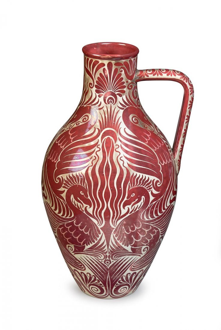 A William De Morgan Persian ruby lustre ewer, circa