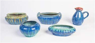 A collection of five Pierrefonds glazed pottery
