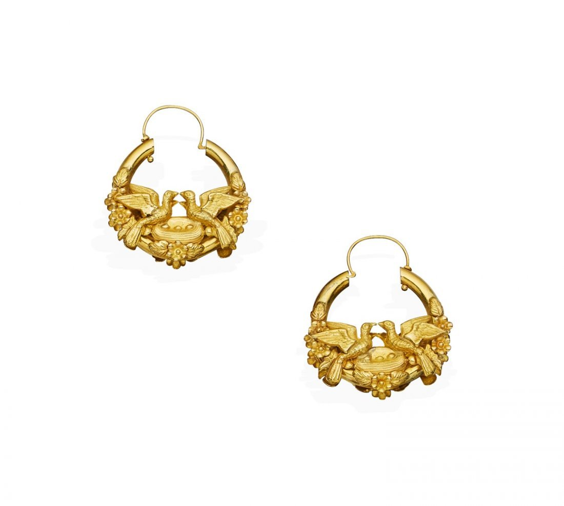 A pair of Victorian gold earrings, bird and nest motif.