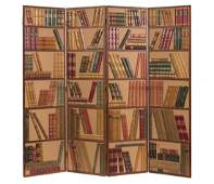 A four-panel gilt tooled book spine Library screen,