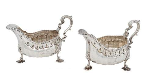 An impressivepair of George II silver sauceboats by