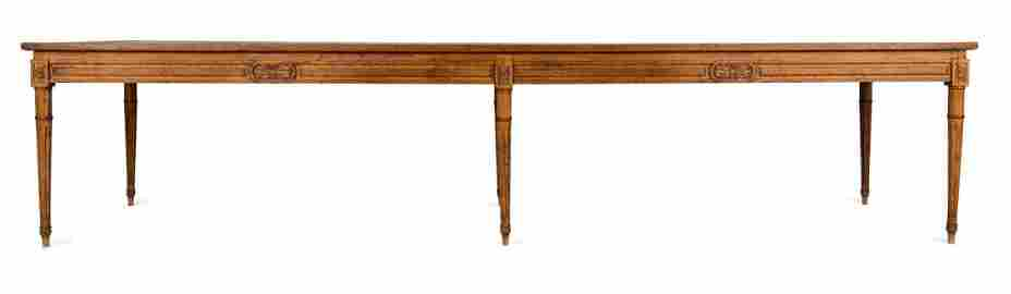 An unusually long oak plank topped refectory table,