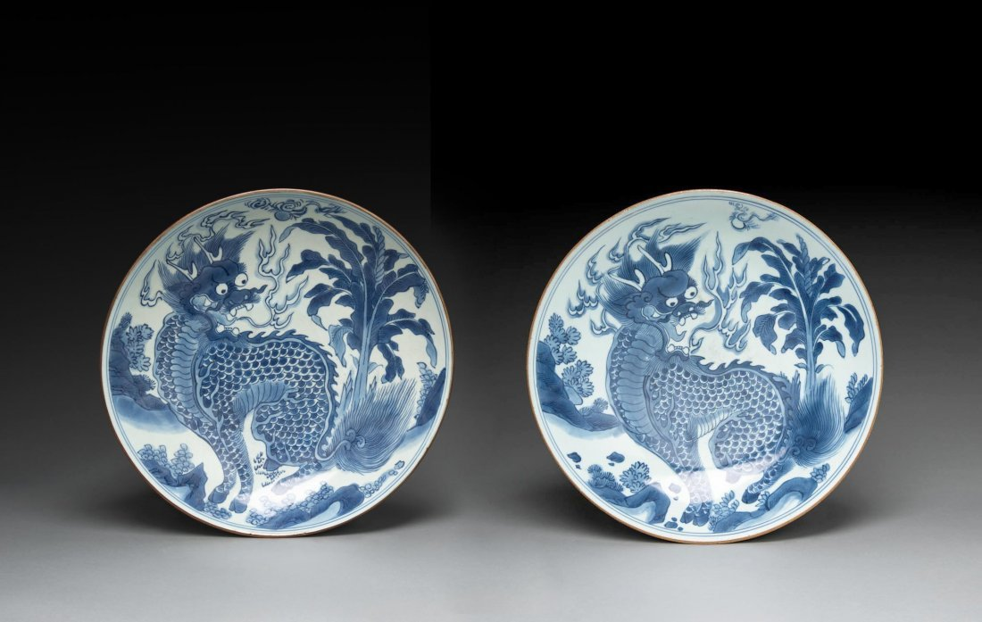 A pair of Chinese blue and white plates, Shunzhi period