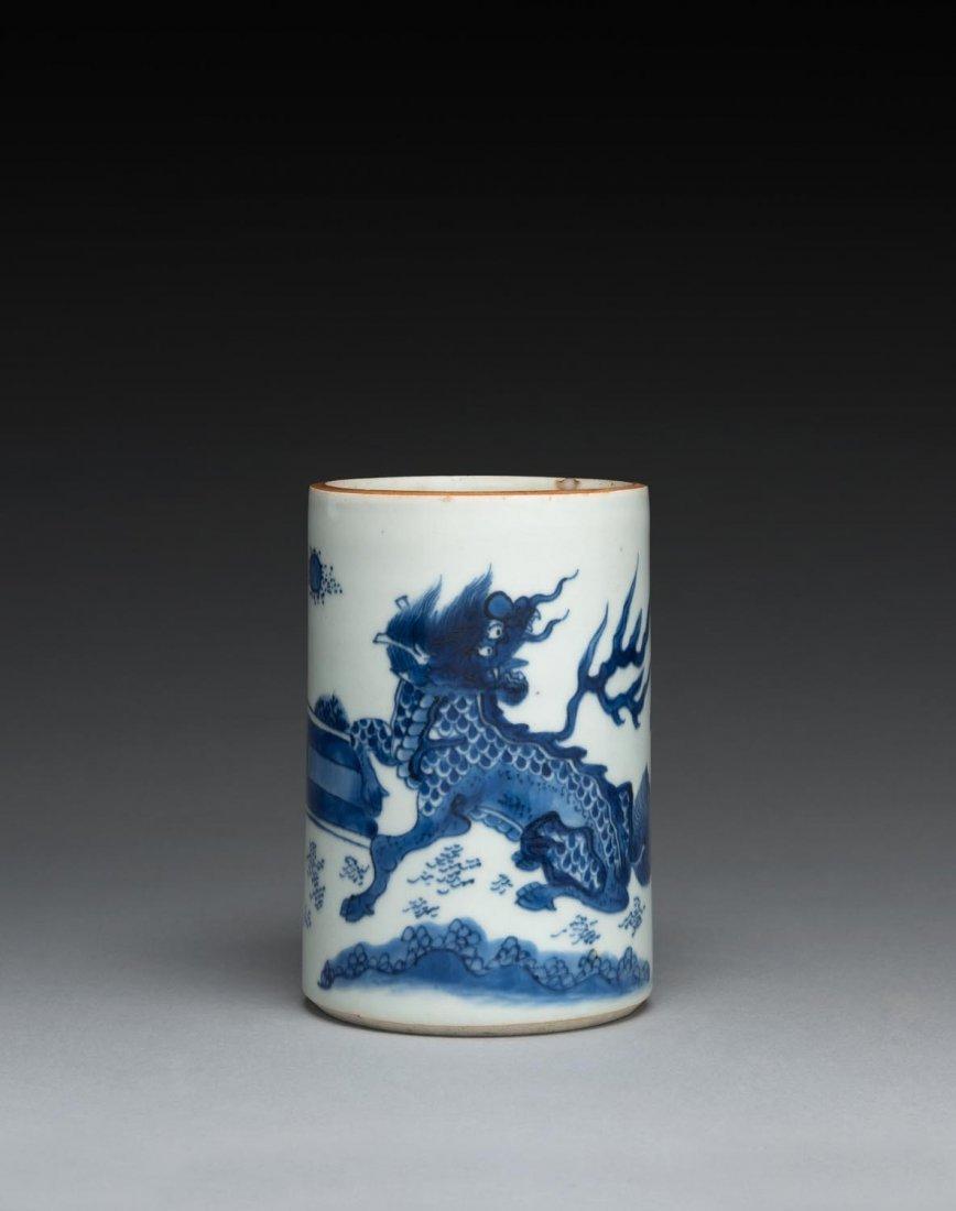 A Chinese blue and white cylindrical brush pot, Shunzhi