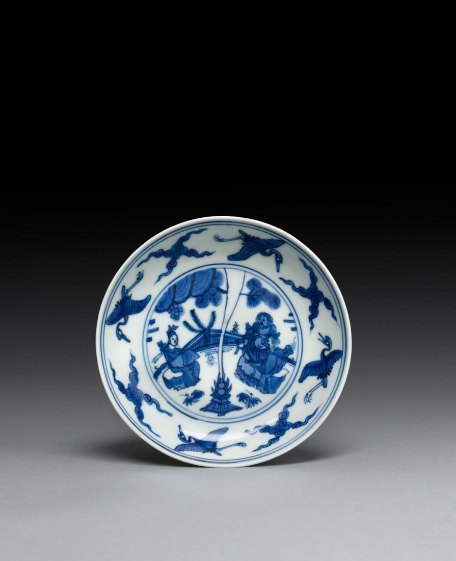 A rare blue and white saucer dish, probably imperial,
