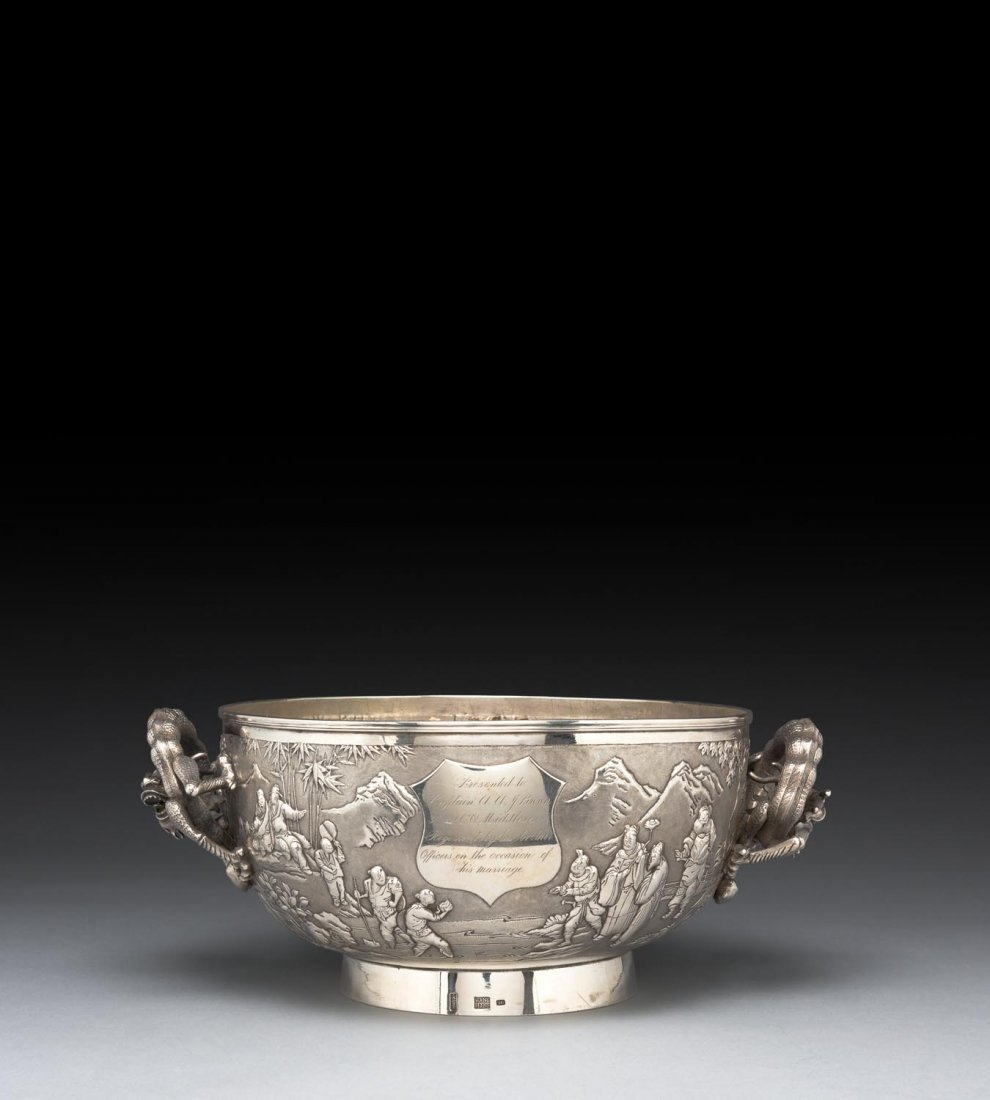 A large Chinese repousse silver presentation bowl, late