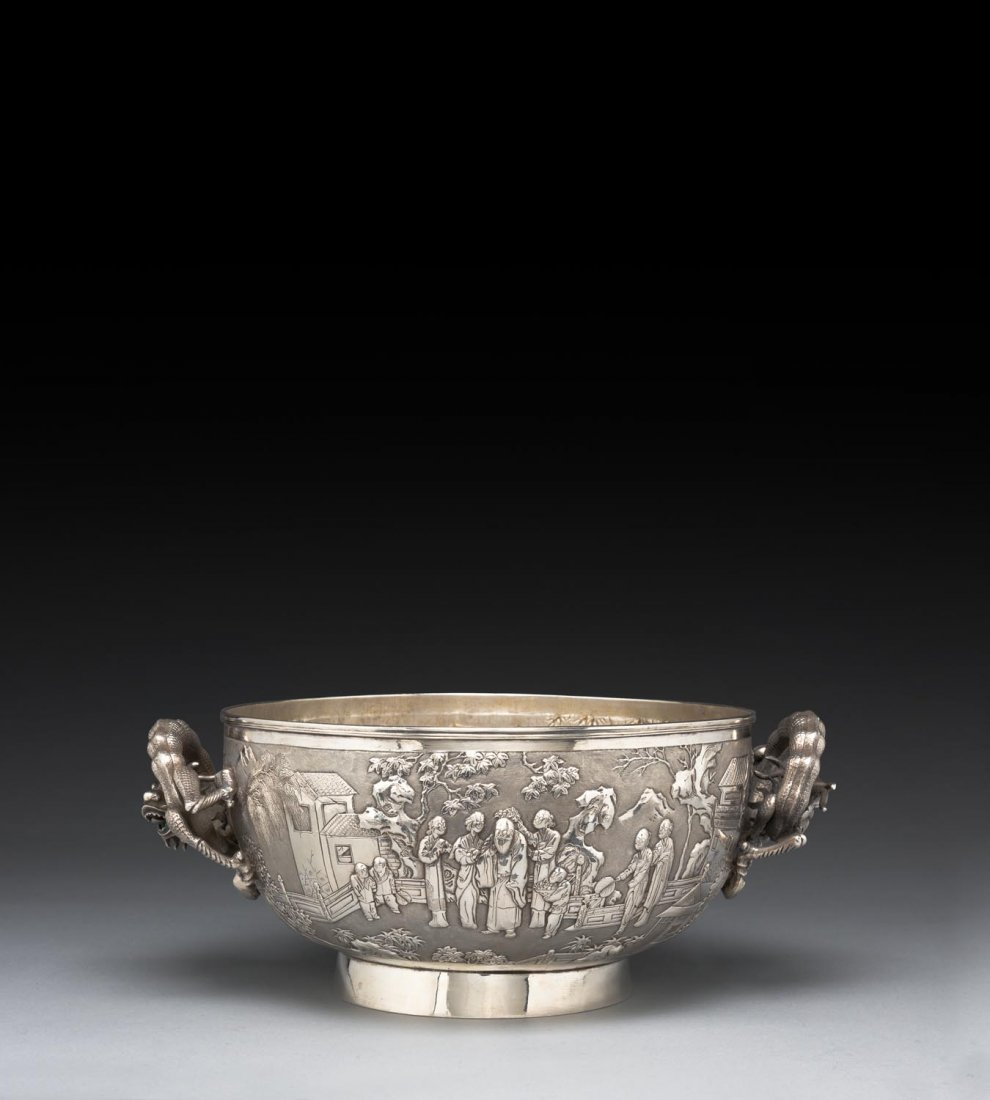 A large Chinese repousse silver presentation bowl, late - 3