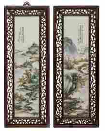 "A pair of famille rose porcelain ""landscape"" painting"