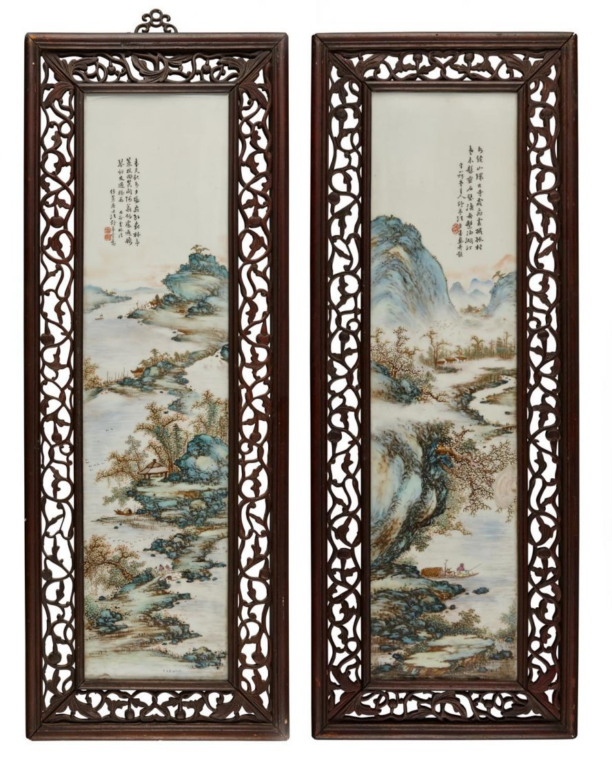 "A pair of famille rose porcelain ""landscape"" painting"